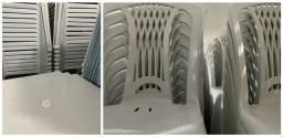 Promoção conjunto de mesa plástica nova para lanchonete