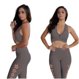 Conjunto Calça blusa feminina Legging leg Feminina Calça + blusa cropped com bojo