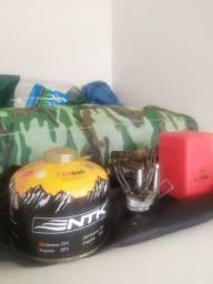 Kit fogareiro guepardo, colchonete camping, cartucho de gás NTK TEK gás