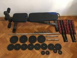 Banco de Musculação Domyos + Kit de barras e anilhas + Tornozeleira