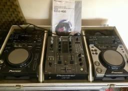 Kit dj par de cdjs pioneer 400 e 400k, mixer pioneer djm400 e case com suporte p note