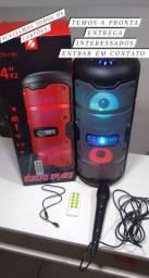 Caixa de Som com Bluetooth e Karaoke