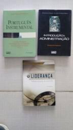 Livros: Português instrumental, Introdução à administração, Liderança.