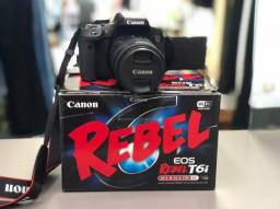 Câmera Canon T6i Wifi Eos Rapel impecável novíssima