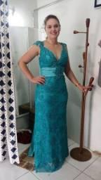 Vestido de festa longo verde/azul tifany