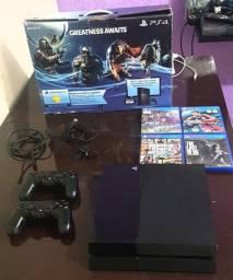 Sony Playstation 4 500gb (Fat) Com 7 Jogos e 2 Controles