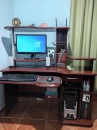 Mesa e Computador completo Core I3 4130 SSD 120gb 8gb RAM monitor FHD 22''