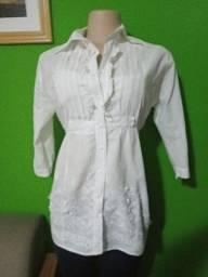 Camisa Feminina Branca Manga 7/8 - M