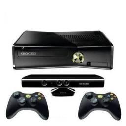 Xbox 360 seminovo, kinect, 2 controles com fio, 9 jogos originais