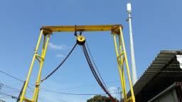 cavalete 5,5 altura talha 5,5 ton t reforçada 1500, c/rodas p/deslocar