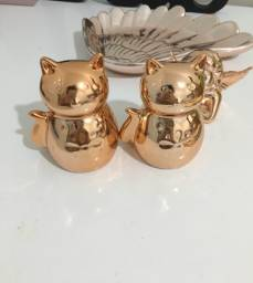 Conjunto cerâmica rose gold