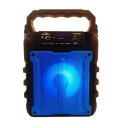 Caixa de Som Bluetooth Portátil D-S18 USB P2 P10 Azul