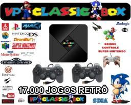 Video Game Retrô c/ 17 mil jogos + 2 controles/Snes,Atari,psone,fliperama etc...