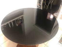 Mesa de Jantar Redonda tampo de vidro preta