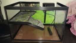 Aquário terrario com filtro e aquecedor