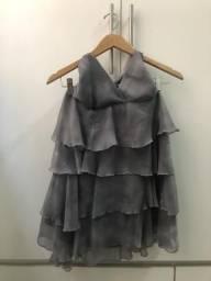 Vestido camadas mescla Cinza chumbo/Cinza claro.