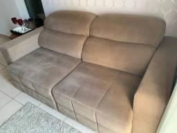 Sofa cama de 2 lugares com tecido suede marrom