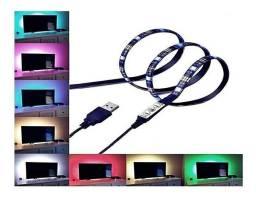 Fita Led 5v Com Entrada Usb 5050 Rgb Colorida 2 Metros Com Silicone