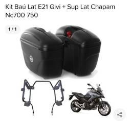 Baús bauletos laterais givi + suporte para moto NC 750