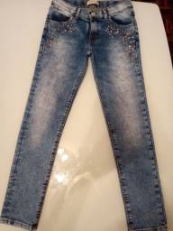 Calça jeans infantil com strass