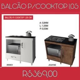 Balcão para cooktop branco e jequitibá