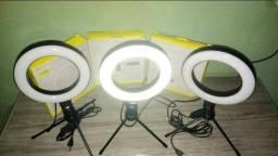Ring light 16pol 6cm com tripé e cabo usb