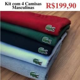 4 Camisas básicas em algodão fio 30, em Marabá ótima qualidade.