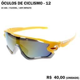 Óculos de Ciclismo 12 (Espelhado com Armação Amarela e Cinza)