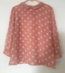 Blusa de bolinha rosa chá