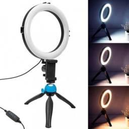 Luz Ring Light 6 Pol Led 3500/6500k Tripé Suporte Celular - Dura Well