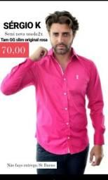 1 Camisa masculina rosa SERGIO K tam GG slim original