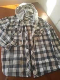 Camisa  xadrez manga longa com capuz