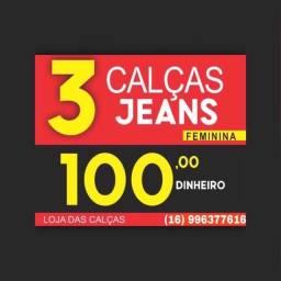 Três calças jeans por 100$