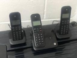 6bd2f386b Telefone Dect Sem fio e identificador de chamadas + 2 Ramais Motorola 3000