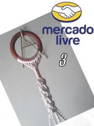Suporte Macramé + Vaso Artesanal Fibra Sintética