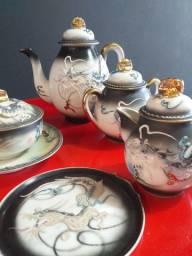 Jogo de café - porcelana japonesa Satsuma (casca de ovo)
