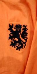 Camisa Retrô Classica Holanda 1974 Cruijff manga longa duas listras escudo Bordado