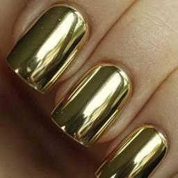 Unhas postiças Dourado Metálico para as mãos Gold Espelhado 24 peças