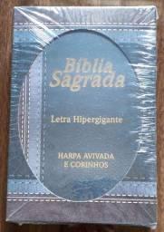 Bíblia letra hipergigante com harpa