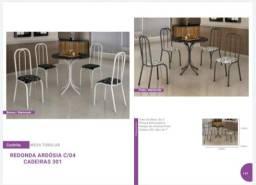 Mesa redonda de ardosia com 4 cadeiras nova e garantia de fabrica - Pronta entrega.