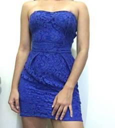 Vestido azul rendado cardigan