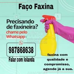 Faço Faxina, agende logo a sua.