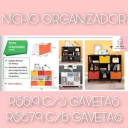 Nicho organizador com 6 gavetas