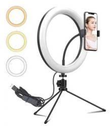 Título do anúncio: Iluminador Ring Light Tripé Mesa 20cm Suporte De Celular - Inova
