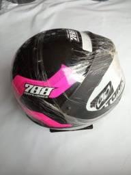 Capacete Sport Moto 788 Preto c/ Rosa