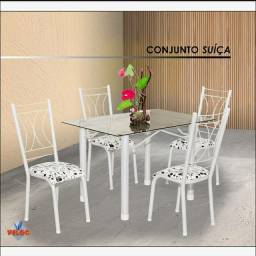 Conjunto suíça - vidro, quatro cadeiras
