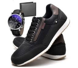 Esgotando: Kit Sapatênis Sapato Casual Com Relógio e Carteira Masculino