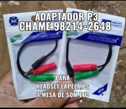 Adaptador p3 para headset,lapela,ps4 etc(pronta entrega)