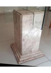 Mesa Vidro Redondo com Base de Mármore Branco e mesa apoio