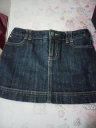 Mini saia infantil tamanho 6 jeans com gliter